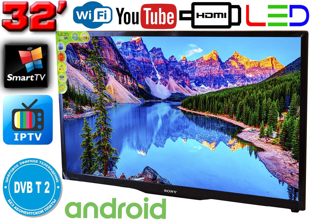 "Телевизор SmartTV SONY 32"" 4K 3840x2160,LED, IPTV, Android 9, T2, WIFI, USB, HDMI КОРЕЯ!"