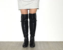 Модные ботфорты на низком каблуке эко кожа