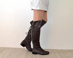 Замшевые высокие сапоги со шнуровкой 36