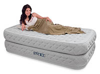 Надувная односпальная кровать Intex (64462) 66964 + встроенный електронасос
