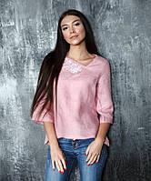 Нежно-розовая вышитая блуза Розы (размеры XS-2XL)