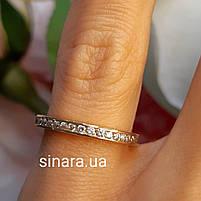 Минималистичное золотое кольцо дорожка с фианитами, фото 6