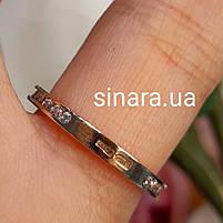Минималистичное золотое кольцо дорожка с фианитами, фото 4