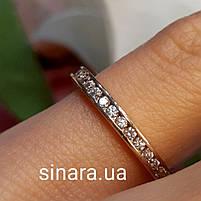 Минималистичное золотое кольцо дорожка с фианитами, фото 2