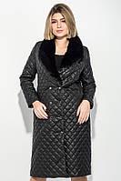 Пальто женское стеганное, с мехом 69PD1059 (Черный)