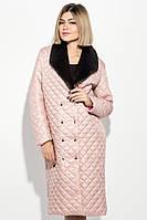 Пальто женское стеганное, с мехом 69PD1059 (Пудровый)