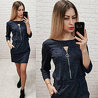 Теплое платье с вырезом на груди, арт 151 синий