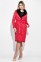 Пальто женское стеганное, с мехом 69PD1059 (Красный)