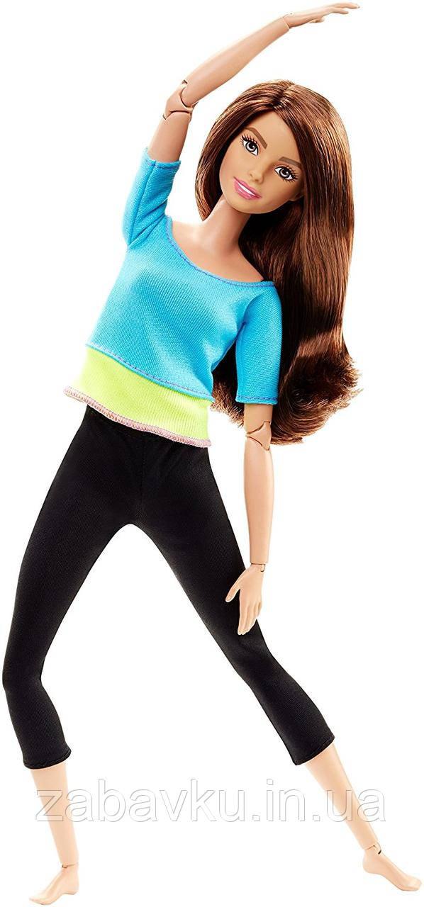 Барби йога безграничные движения шарнирная Barbie Made to Move Doll, Blue Top Бабрі йога брюнетка, голубий топ