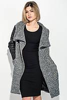 Пальто женское со стеганными рукавами, на молнии 69PD976 (Черно-серый)