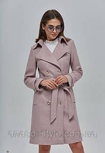Пальто женское шерстяное двубортное пудра