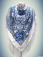 Шерстяной платок Весенний сад, белый с бирюзой