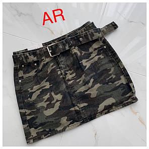 Юбка джинсовая мини цвета камуфляж, фото 2