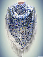 Шерстяной платок Поцелуй судьбы, белый с голубым
