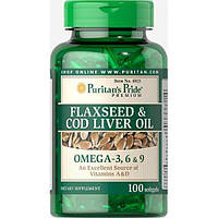 Рыбий жир Puritan's Pride Flaxseed and Cod Liver Oil 1000 mg Omega 3 6 and 9 100 softgels