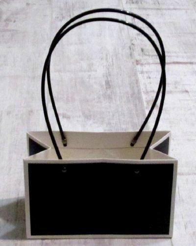 Сумка - кашпо для цветов 22*13,5 см, бело-черная