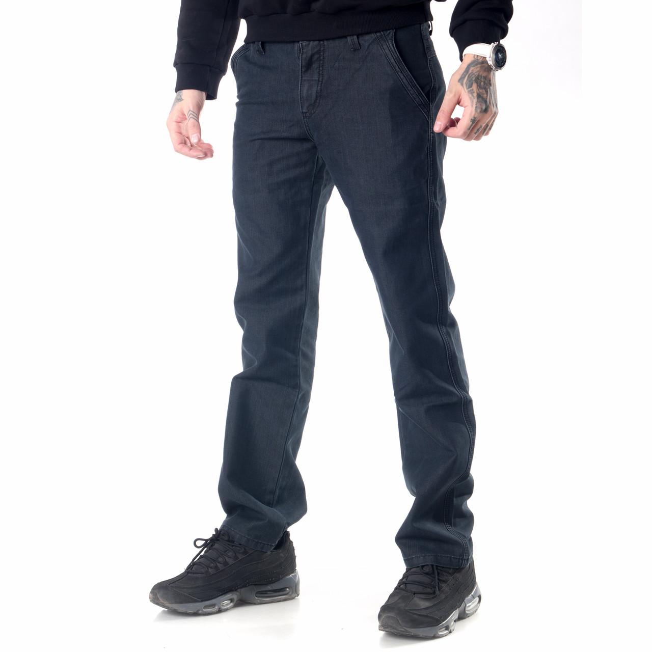 Мужские джинсы Franco Benussi FB 600 с косыми карманами черные