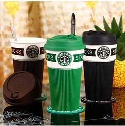 Термокружка Starbucks Старбакс 350 мл керамическая с резиновым чехлом