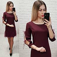 Платье  арт 154,ткань креп, цвет марсала