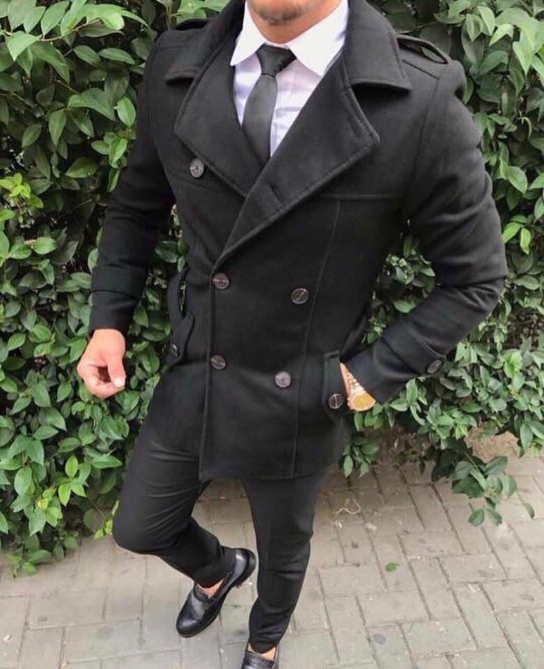 Мужское черное пальто, мужское шерстяное весеннее пальто
