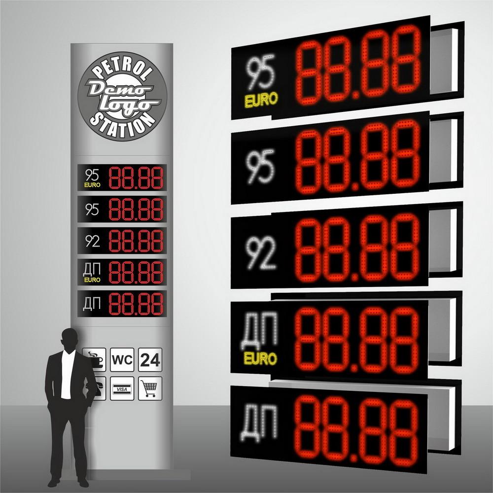 """Комплект светодиодных модулей с ценами на бензин """"PS2-250"""" (высота символа 250 мм)"""