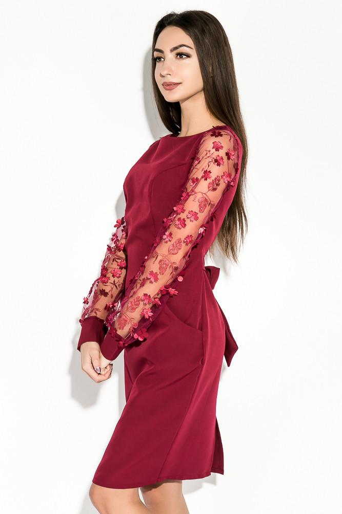 Нарядное платье с карманами с сетчатыми рукавами с цветочкам и поясом на бант
