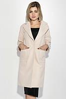 Пальто женское на потайной застежке, с карманами 69PD724 (Кремовый)