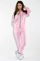 Молодежный женский спортивный костюм: кофта на змейке и прямые штаны с серебристыми лампасами