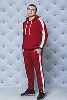 Мужской трикотажный спортивный костюм с лампасом бордо