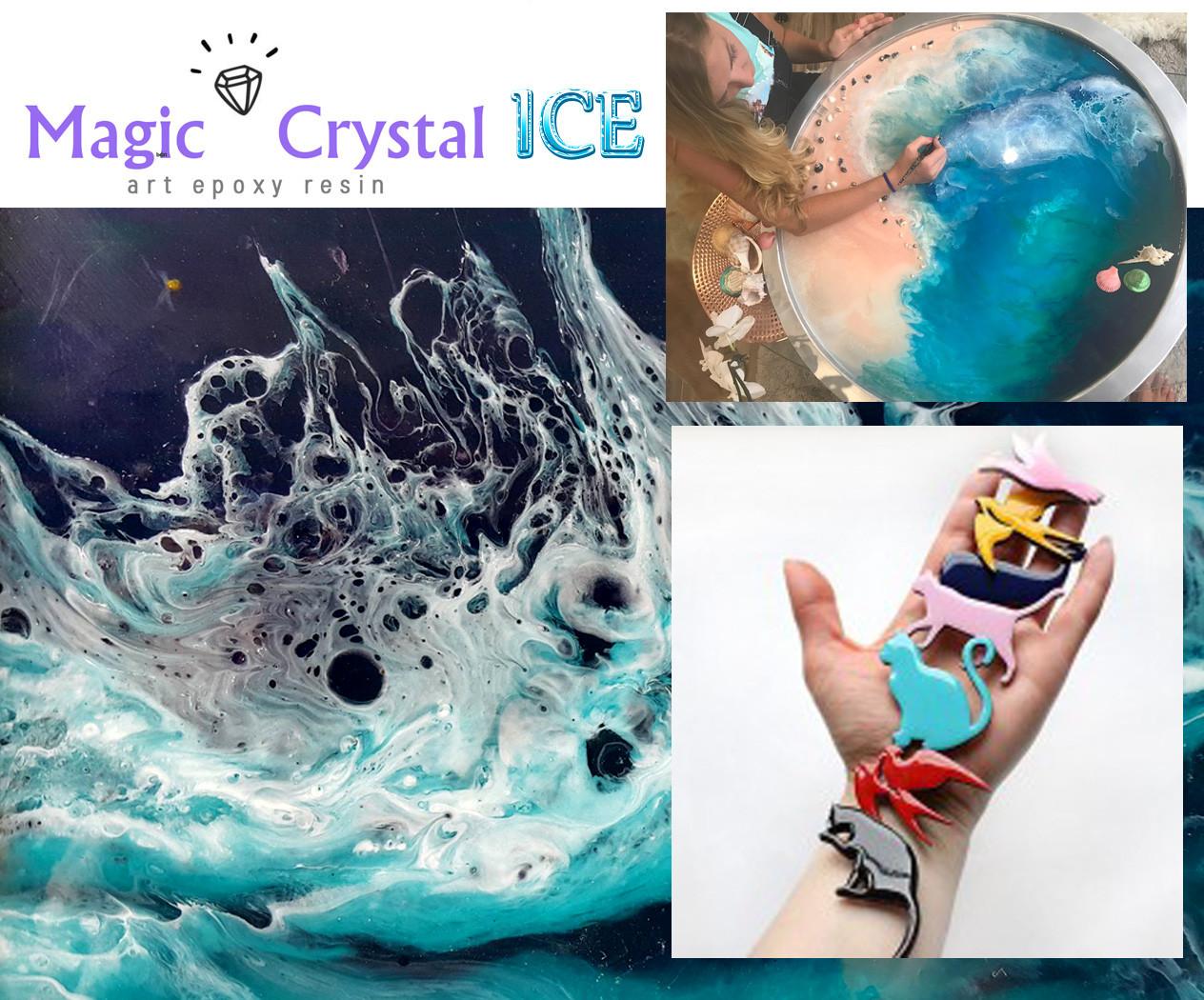Смола MagicCrystal ICE высокопрозрачная, для картин и глазури, молдов.Быстросохнущая (Франция) Уп. 572 г