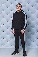 Мужской трикотажный спортивный костюм с лампасом черный