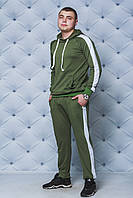 Мужской трикотажный спортивный костюм с лампасом хаки