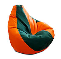 Оранжево-зеленое кресло-мешок груша 120*90 см из ткани Оксфорд