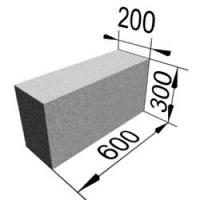 Блок газобетонный 200х300х600 мм