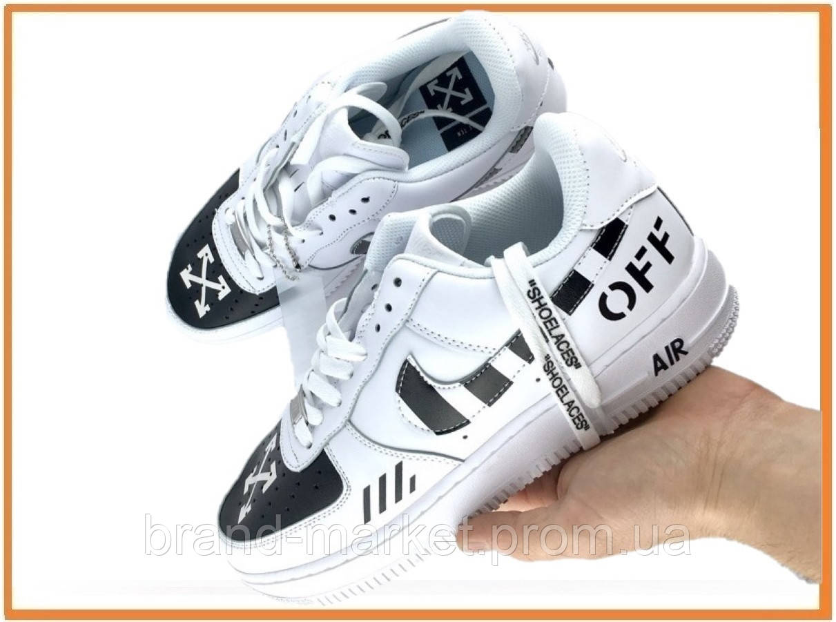 651be122 Мужские Кроссовки Off White X Nike Air Force 1 Low, White (Офф Вайт ...