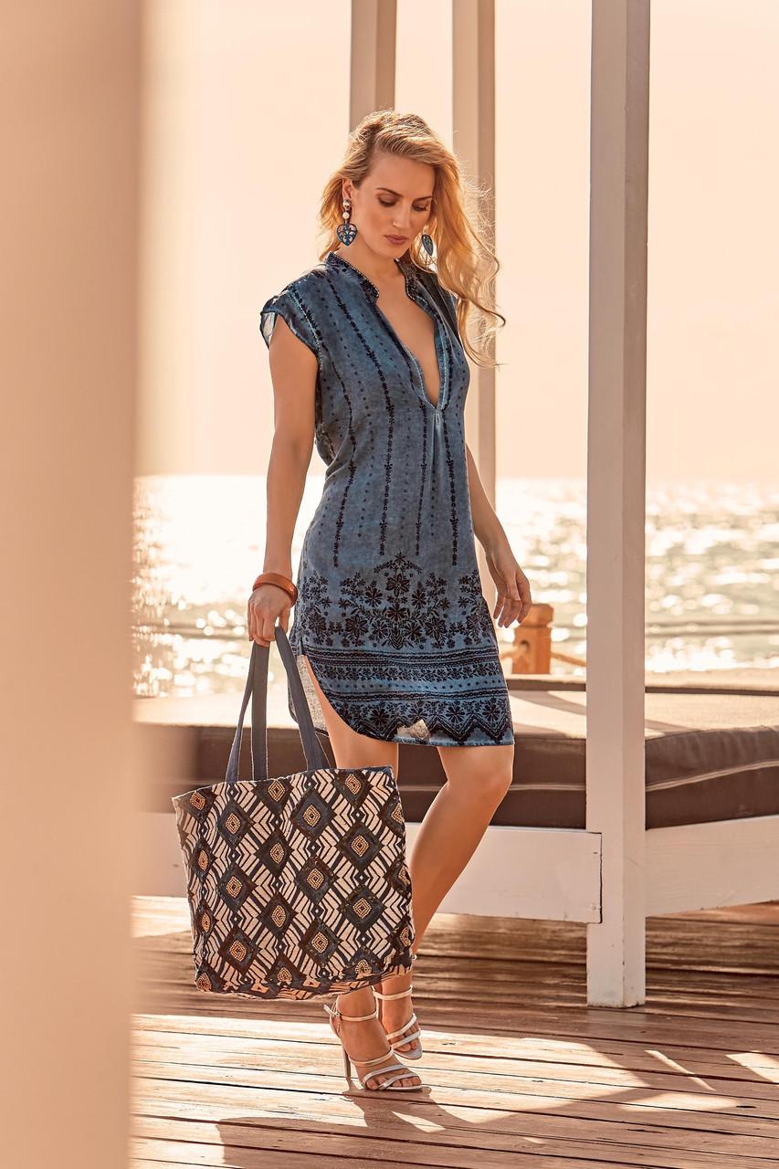76cb9e0e161dfdb Короткое пляжное платье из хлопка Iconique IC9-096 48(XL) Синий Iconique IC9