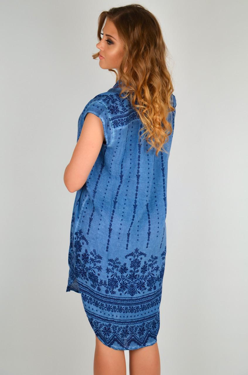 a91f5fb88a94b26 Короткое пляжное платье из хлопка Iconique IC9-096 48(XL) Синий Iconique IC9-096,  цена 1 925 грн., купить в Киеве — Prom.ua (ID#914140024)