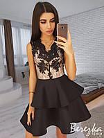 Платье женское нежное кружевное неопрен с пышной юбкой разные цвета Smb3046, фото 1