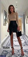 Кожанная юбка мини асиметричная снизу, фото 1