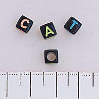 Фурнитура бусина чёрная ассорти буквы, пластик фас.85шт