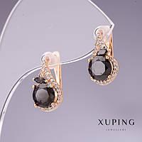 Серьги Xuping с черными цирконами 15х10мм позолота 18к