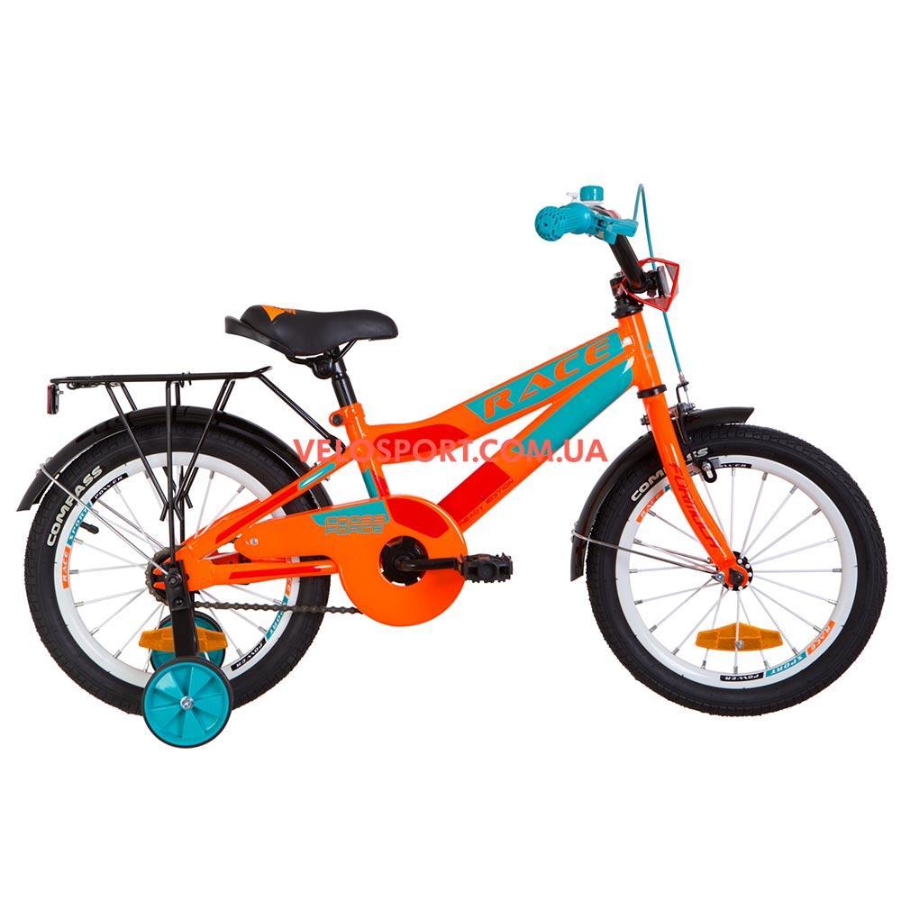 Детский велосипед Formula Race MC 16 дюймов оранжево-бирюзовый с багажником