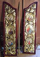 Царские Врата к иконостасу темная вишня с позолотой
