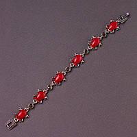 Браслет женский Лягушка светлый металл этно красные камни стразы L -18см