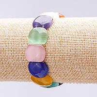 Браслет натуральный камень Кошачий Глаз ассорти цветов звено 17х13мм обхват 18см на резинке