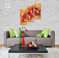 """Модульная картина на холсте на кухню """"Яблоки"""" 110х121 см"""