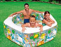 Семейный надувной бассейн аквариум с надувным дном интекс Intex 191x178x61см