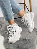 Жіночі кросівки в стилі Fila Disruptor 2, білі, фото 4