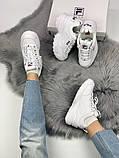 Жіночі кросівки в стилі Fila Disruptor 2, білі, фото 8