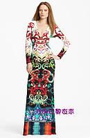 Красивое яркий  принт длинное трикотажное платье  в пол  PUCCI